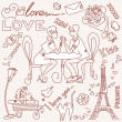 LOVE in Paris doodles — ストック写真