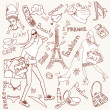Girly doodles, Shopping in Paris - Stock Photo