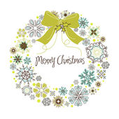 Vintage Christmas wreath made from snowflakes — Stock Photo