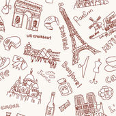 Sightseeing in Paris doodles. Seamless Background — Stock Photo