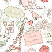 Love in Paris. Seamless pattern — Stock Photo