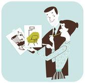 Choosing Furniture - Couple Redecorating — Stock Photo
