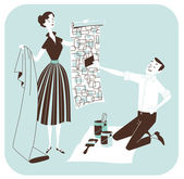 Choosing the wallpaper - Couple Redecorating — Stock Photo