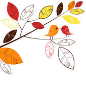 Autumn leaves and two birds kissing — Stock Photo