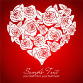 Valentine white rose heart on red background — Stock Photo