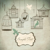 Vintage bird cages. Birds out of their cages concept vector — Stok fotoğraf
