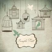 Vintage kuş kafesleri. kuşlar dışarı onların kafes konsepti vektör — Stok fotoğraf