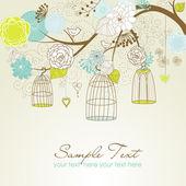 Sfondo estate floreale. uccelli fuori dalla loro vettore del concetto di gabbie — Foto Stock