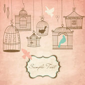 Vintage bird cages. Birds out of their cages concept vector — Stock Photo