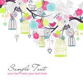 夏の花の背景。ケージの鳥。自由の概念ベクトル — ストック写真