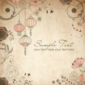 Chinese lanterns. Stylish floral background — Stock Photo