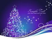 Schöne weihnachtsbaum auf blauem hintergrund — Stockfoto