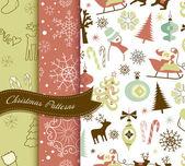 Set of Retro Christmas patterns — Stock Photo