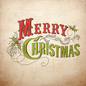 复古圣诞卡片。快乐圣诞刻字 — 图库照片