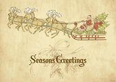 Santa flying in his sleigh — Stock Photo