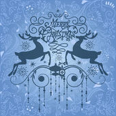 Beautiful Christmas Card with two deers — Stock Photo