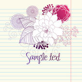 Hand-Drawn Flowers. Sketchy Notebook Doodles Design Element on Graph Paper — Stock Photo