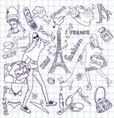 Feminine doodles, Shopping in Paris — Stock Photo