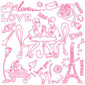 LOVE and Valentine doodles — Stock Photo