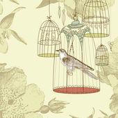 Ročník karta s ptákem v kleci — Stock fotografie