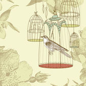 Vintage card with a bird in the cage — Zdjęcie stockowe