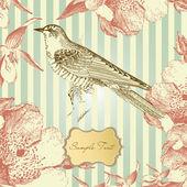 Carta d'epoca con un uccello — Foto Stock