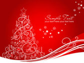 Beautiful Christmas tree on Red background — Stock Photo