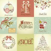 Satz von weihnachtskarten — Stockfoto