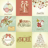 Set of Christmas Cards — 图库照片