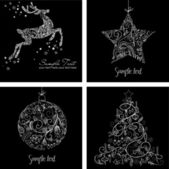 Black and White Christmas Cards — 图库照片