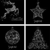 黑色和白色圣诞贺卡 — 图库照片