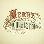 Vintage χριστουγεννιάτικη κάρτα. καλά χριστούγεννα γράμματα — Φωτογραφία Αρχείου