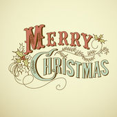 Vintage Christmas Card. Merry Christmas lettering — Foto Stock