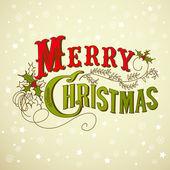 Vintage noel kartı. merry christmas yazı — Stok fotoğraf