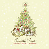 Vintage Christmas Card . Beautiful Christmas tree illustration — Stock Photo