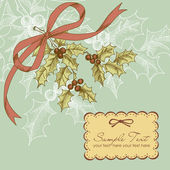 Vintage Christmas card with holly berry — Stock Photo