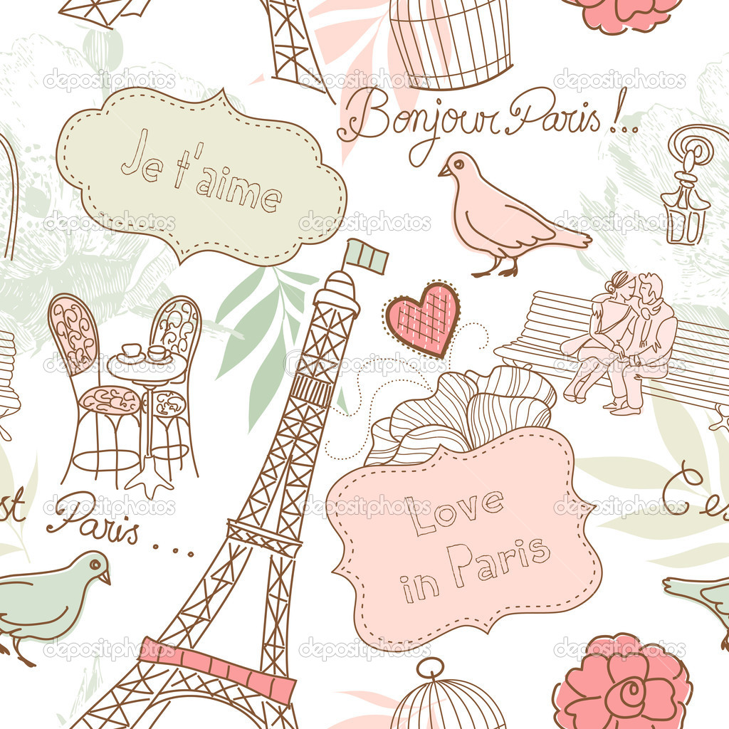 Love in Paris. Seamless pattern — Stock Photo #7550167