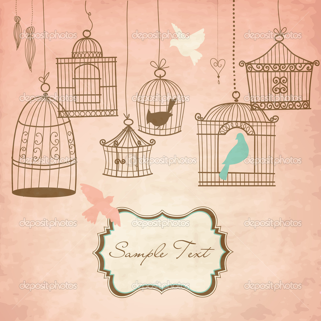 Vintage bird cages. Birds out of their cages concept vector — Stock Photo #7550726