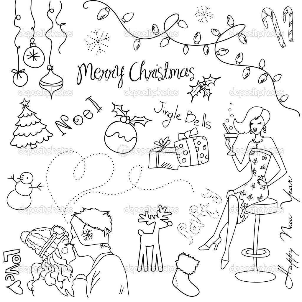 Cute Christmas and New Year hand drawn doodles  Stock Photo #7551028
