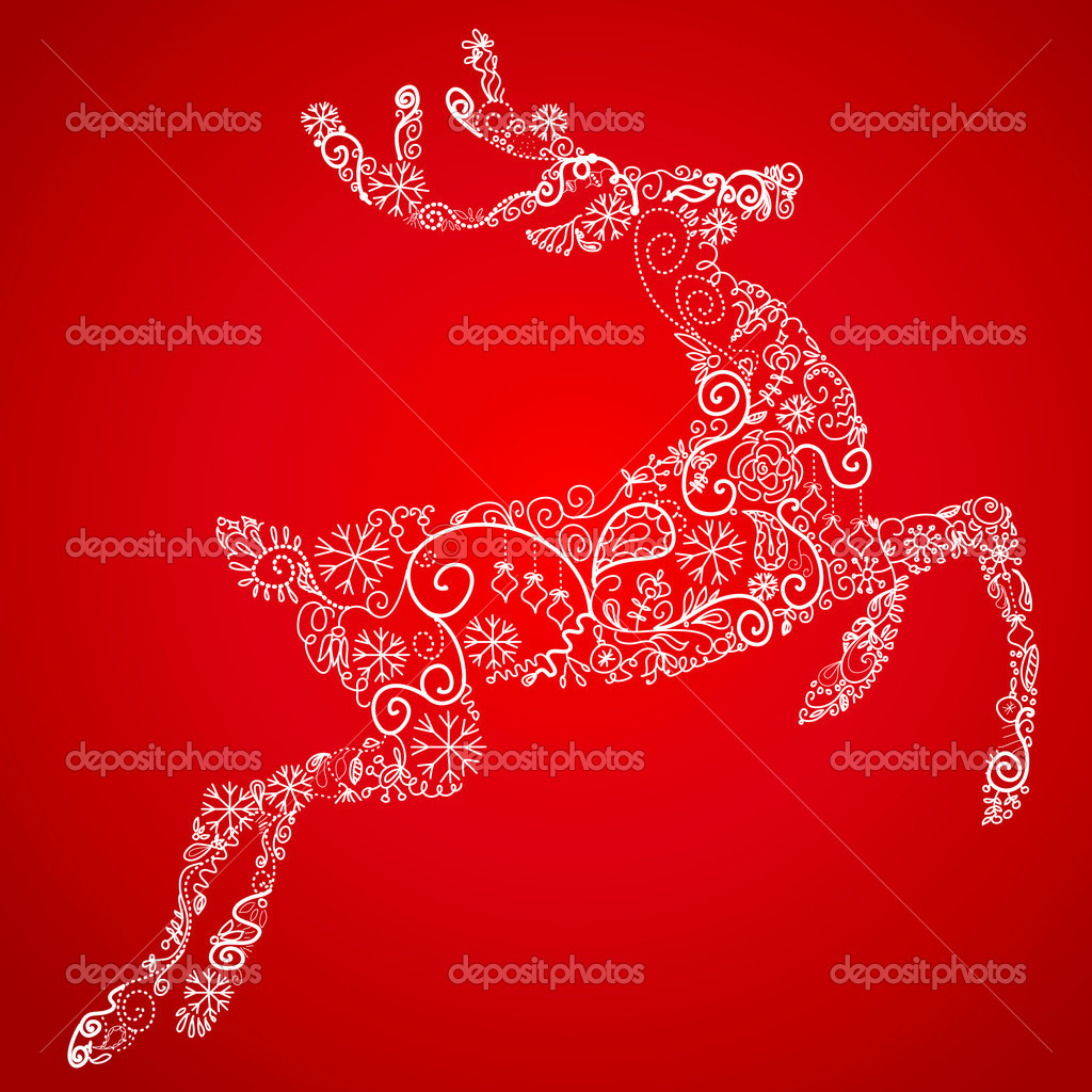Christmas deer, vector illustration — Stock Photo #7551517