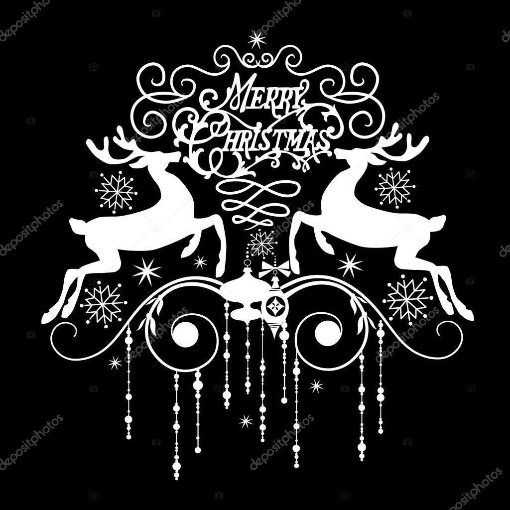 Black and White Christmas Card — Stock Photo #7551541