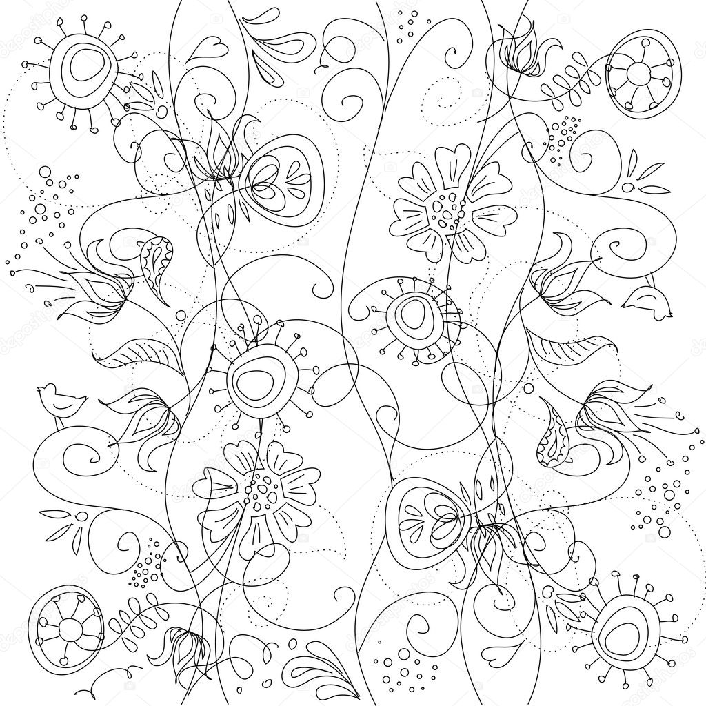 Floral hand drawn seamless background — Stock Photo #7551862