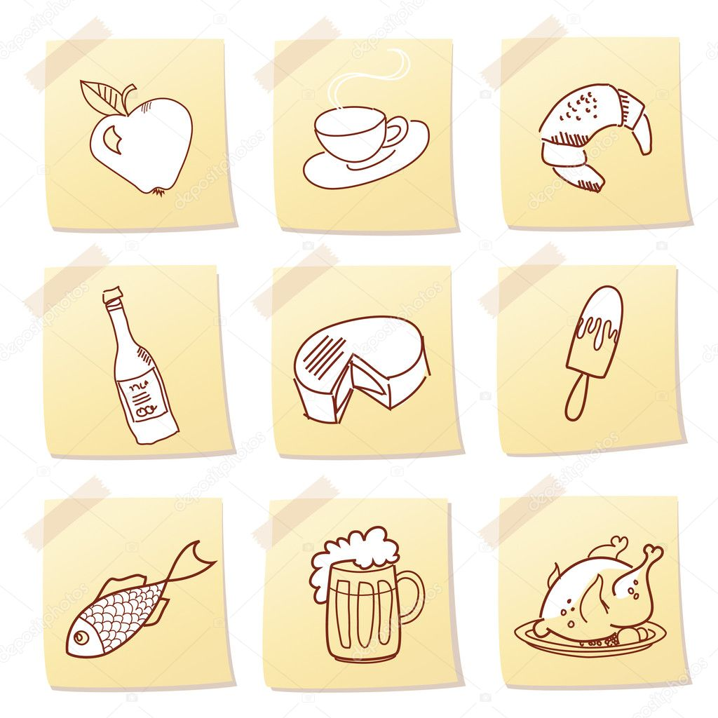 Vector set of food icon on note paper | Foto stock © Alisa Foytik