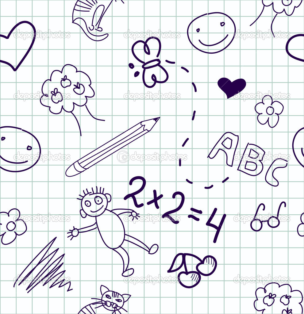 Children's drawings. Seamless background. — Stock Photo #7552134