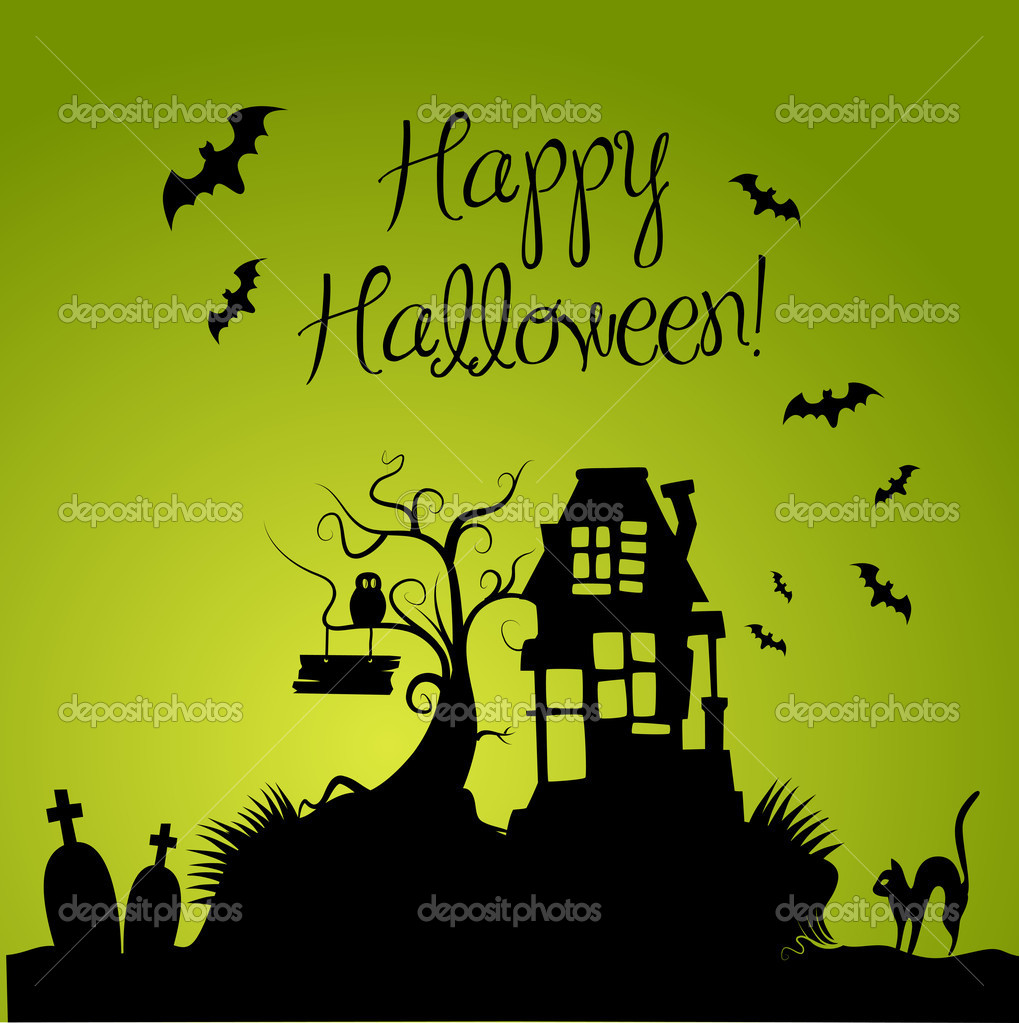 Green hallowen backround  Stock Photo #7552679