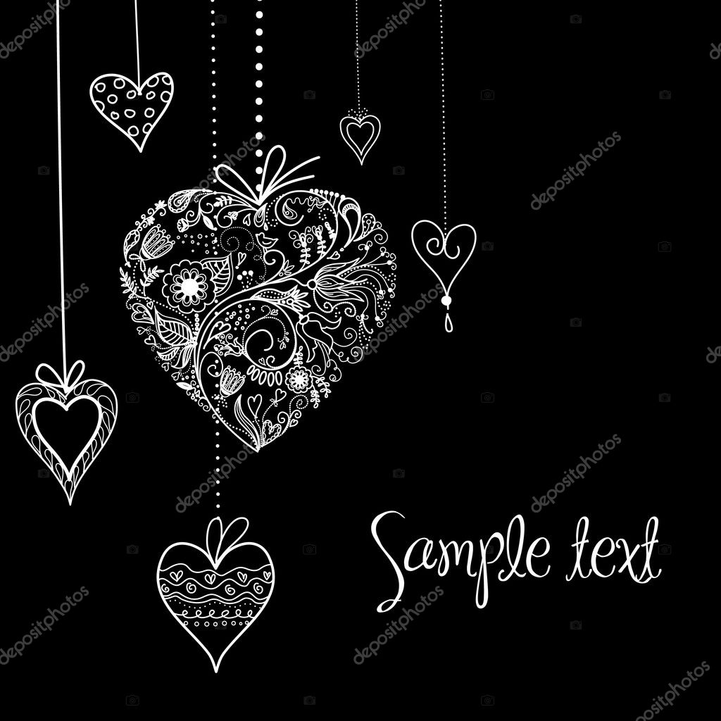 Black and White Valentine Heart shapes illustration. — Stock Photo #7552824