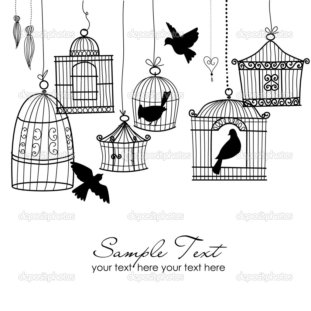 Vintage bird cages. Birds out of their cages concept vector — Stock Photo #7559272