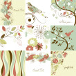 Set of cute floral greeting cards - Stock Photo
