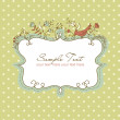 Stock Photo: Vector floral frame with bird