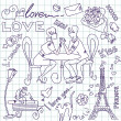 LOVE in Paris doodles — Stock Photo